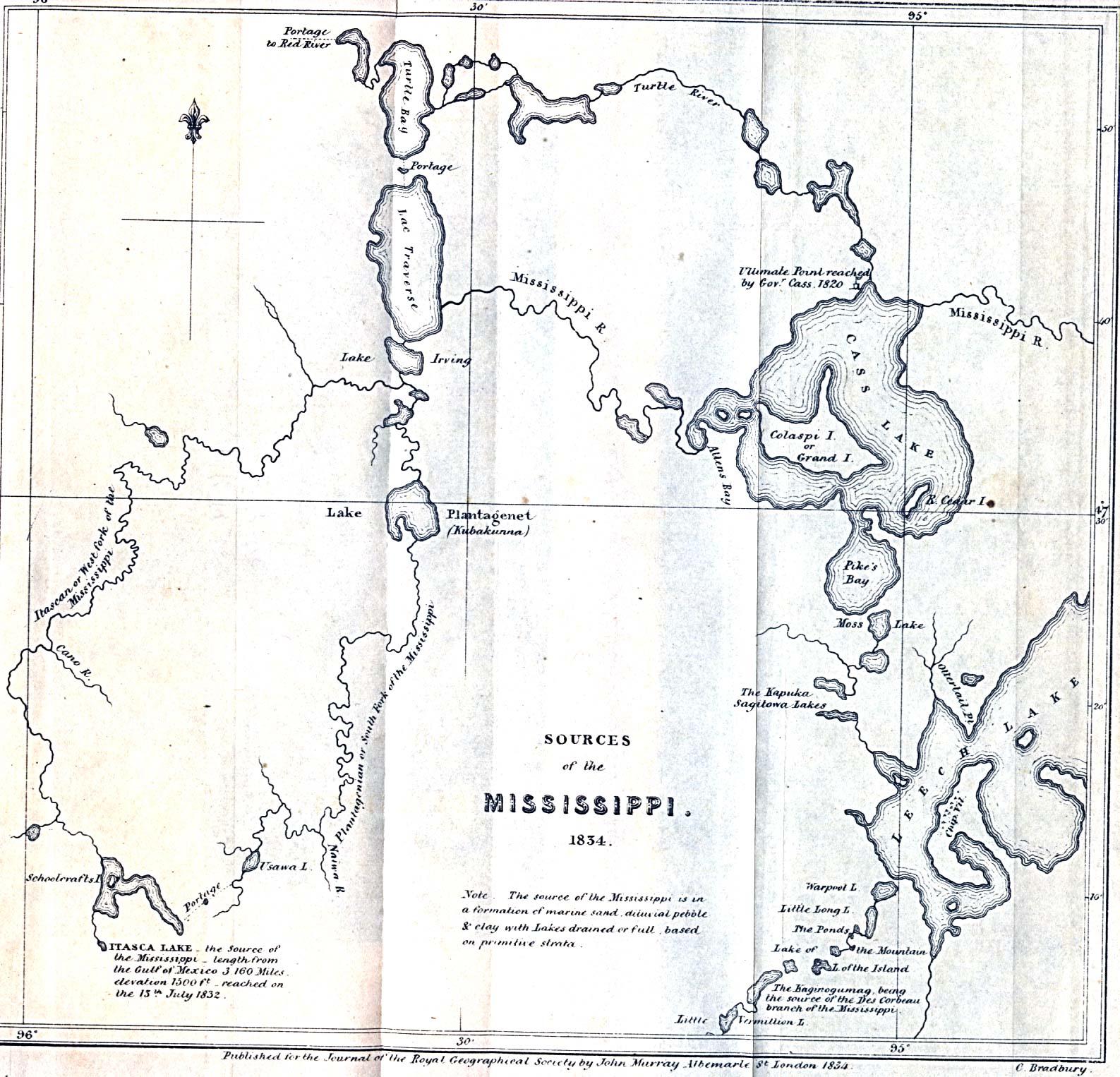 Mapa de las Fuentes del Río Misisipi 1834
