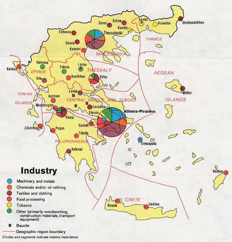 Mapa de las Industrias de Grecia
