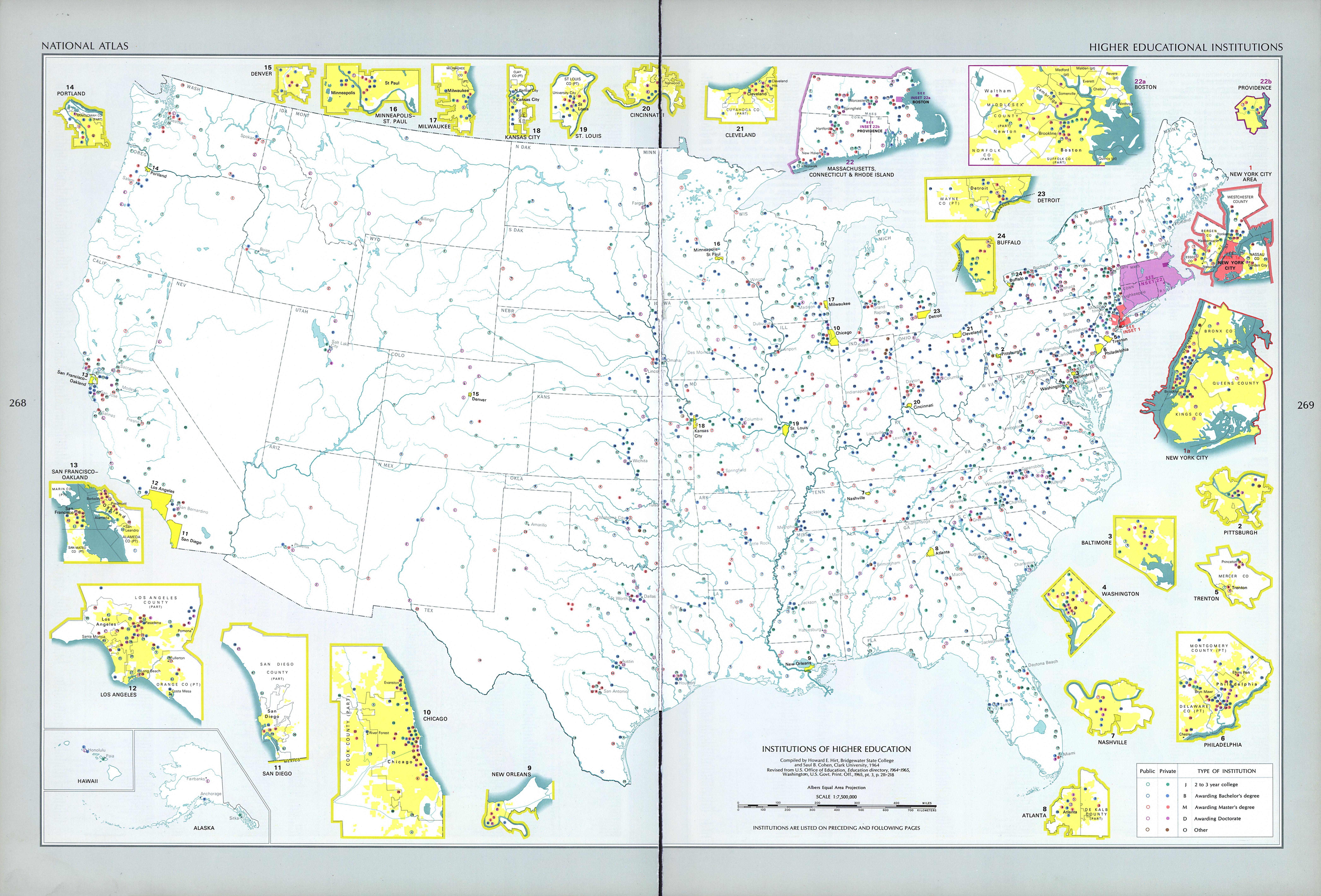 Mapa de las Instituciones de Educación Superior en Estados Unidos