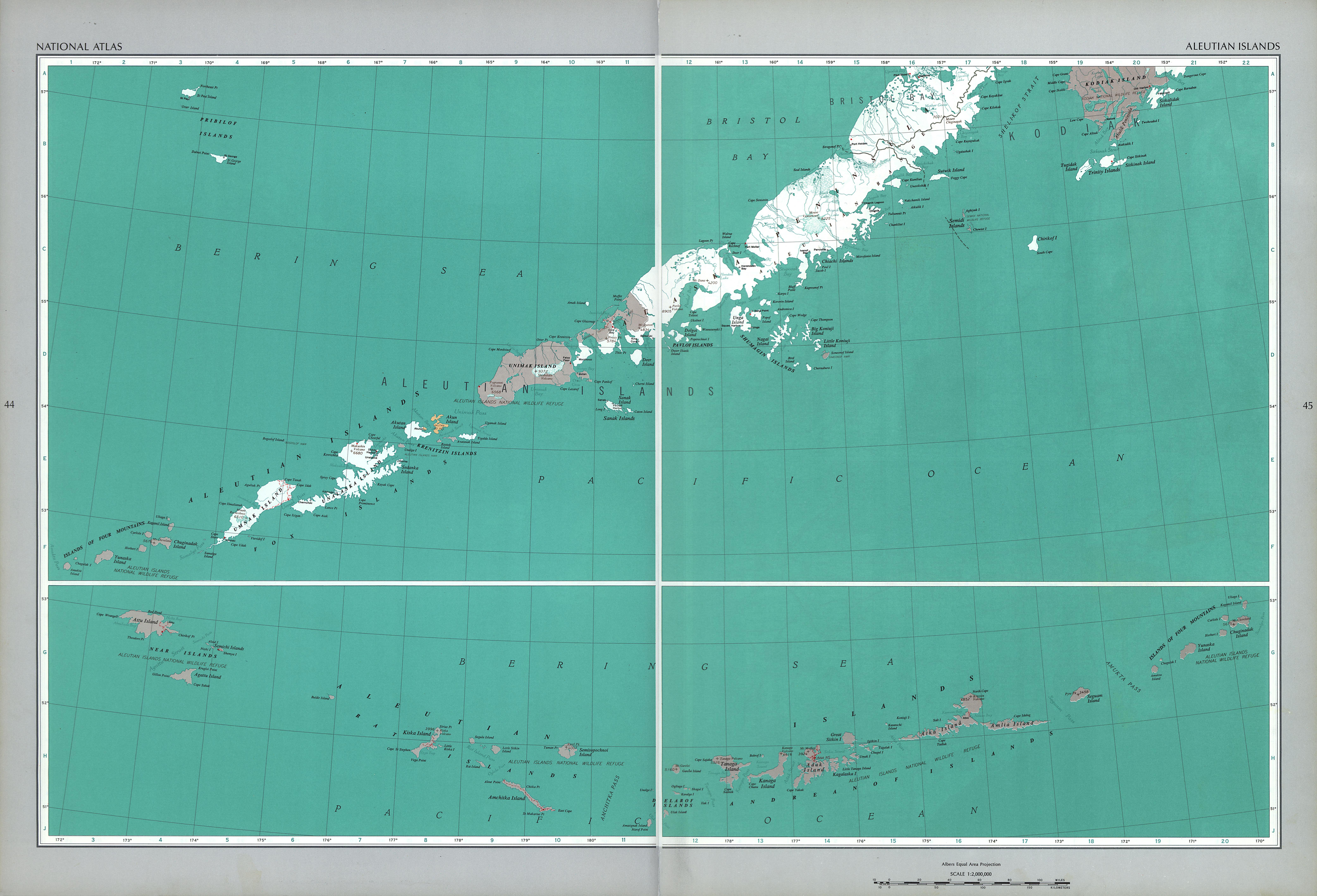 Mapa de las Islas Aleutianas, Estados Unidos