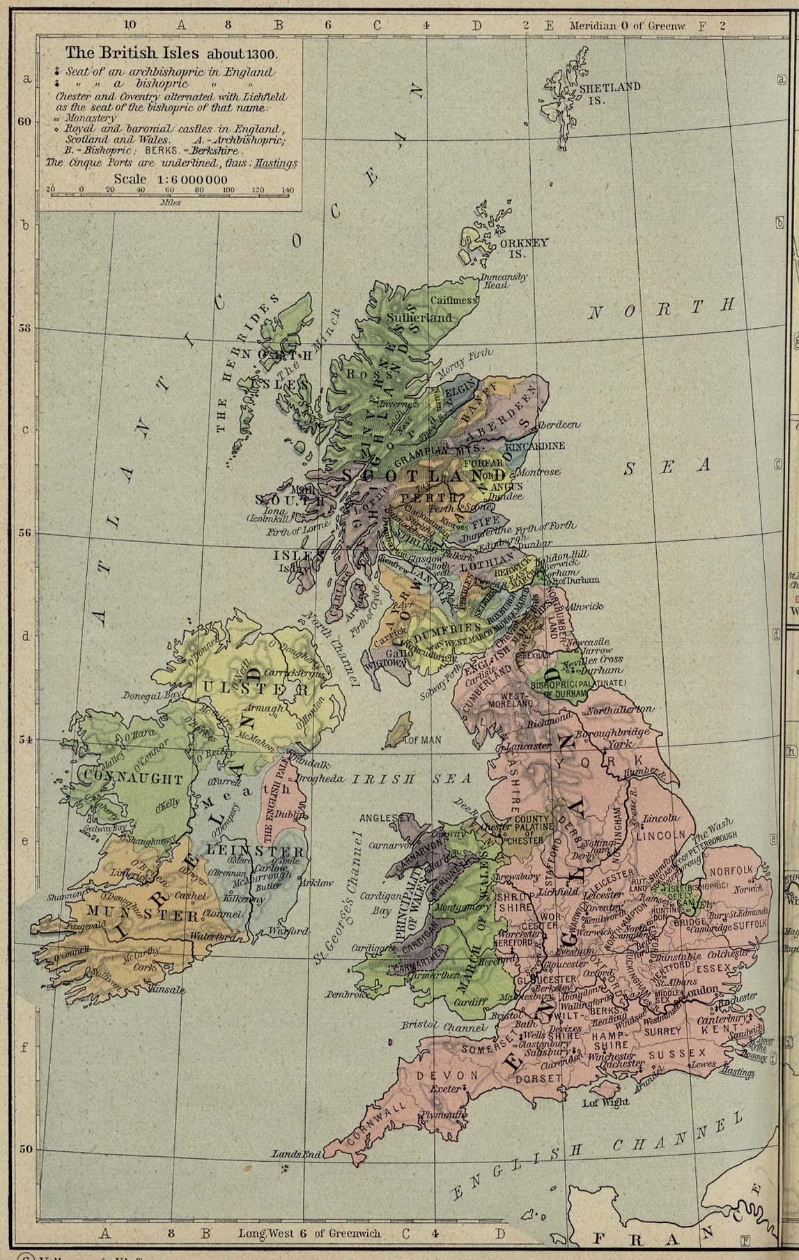 Mapa de las Islas Británicas 1300