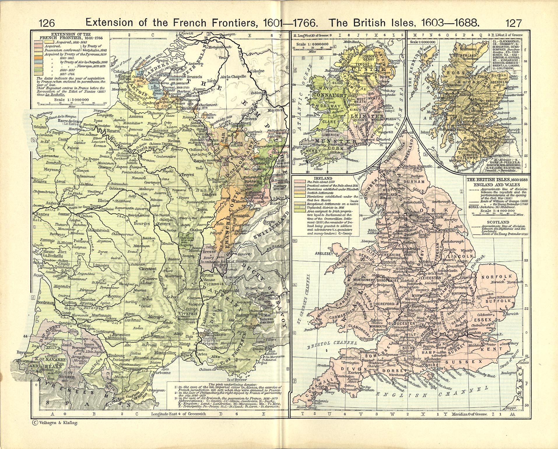 Mapa de las Islas Británicas 1603  - 1688