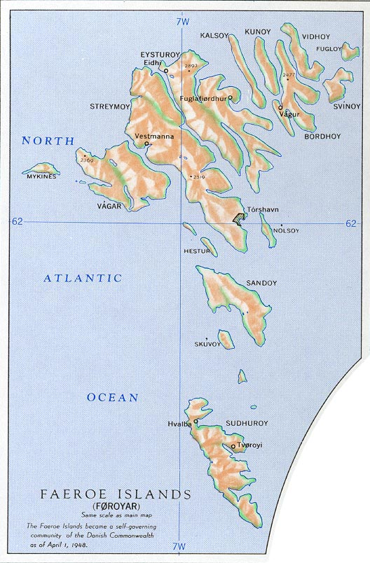 Mapa de las Islas Feroe, Dinamarca