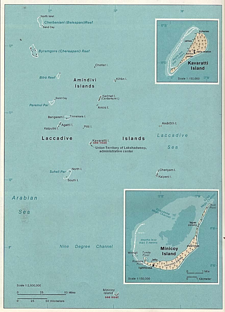 Mapa de las Islas Laccadive, Minicoy y Amindivi, Lakshadweep, India