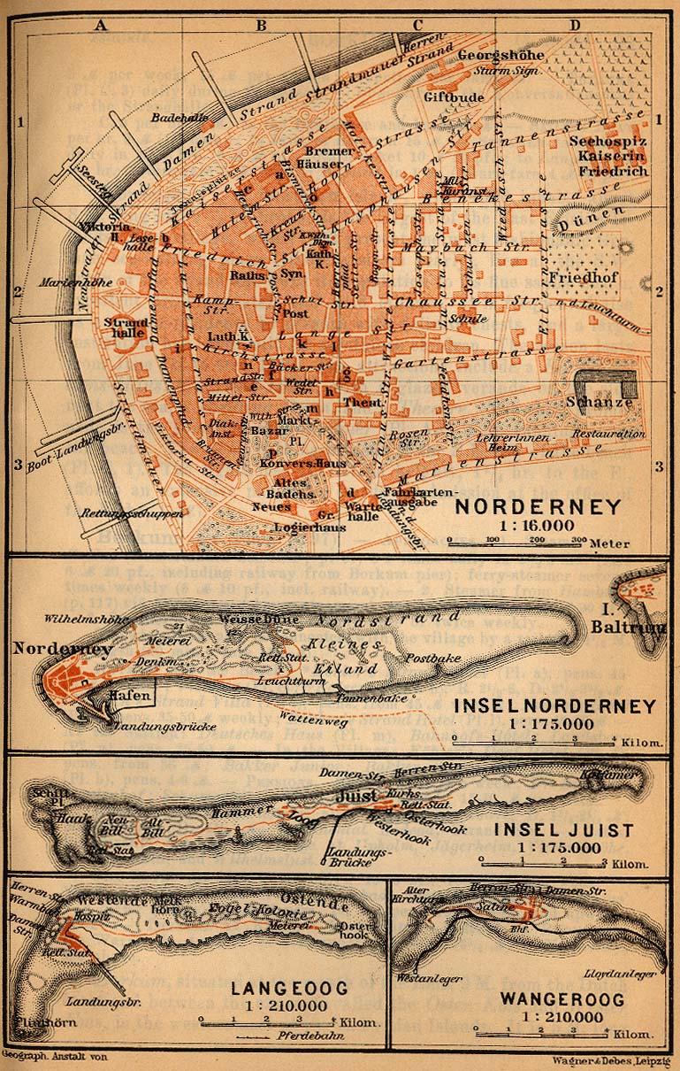 Mapa de las Islas de Norderney, Juist y Langeoog, Alemania 1910