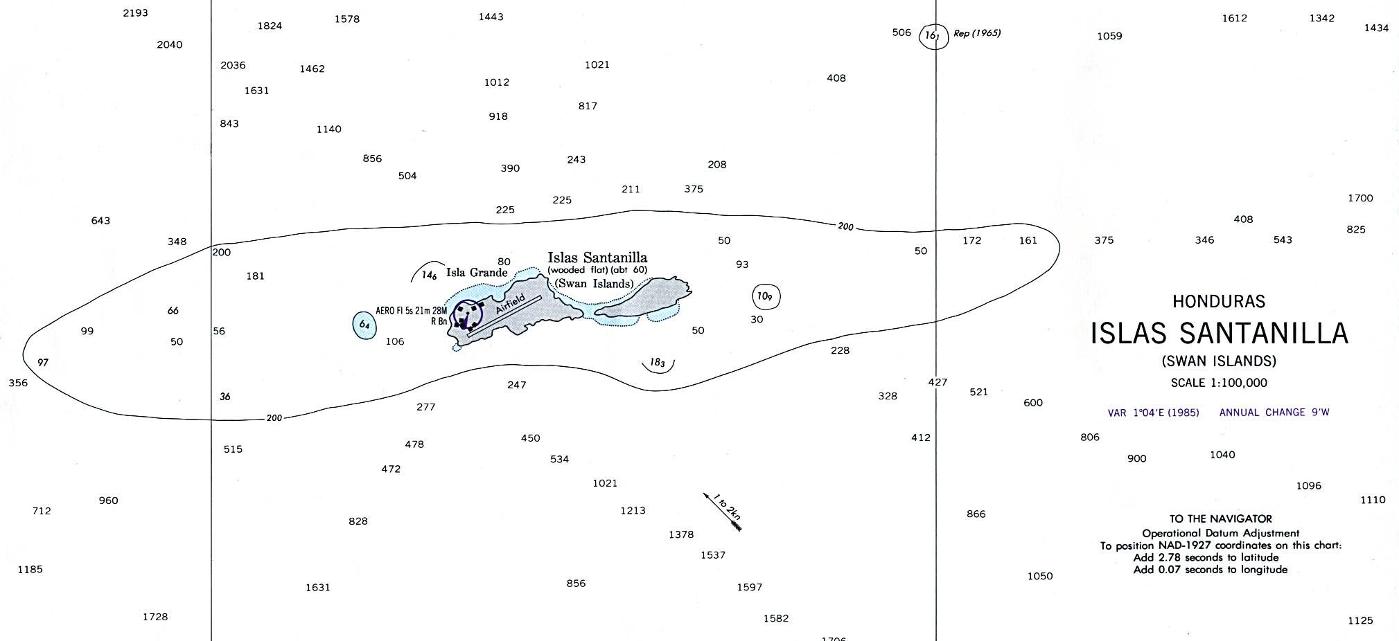 Swan Islands Map, Honduras
