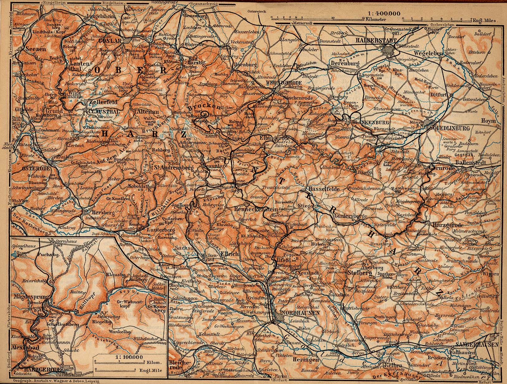 Harz Mountains Map, Germany 1910