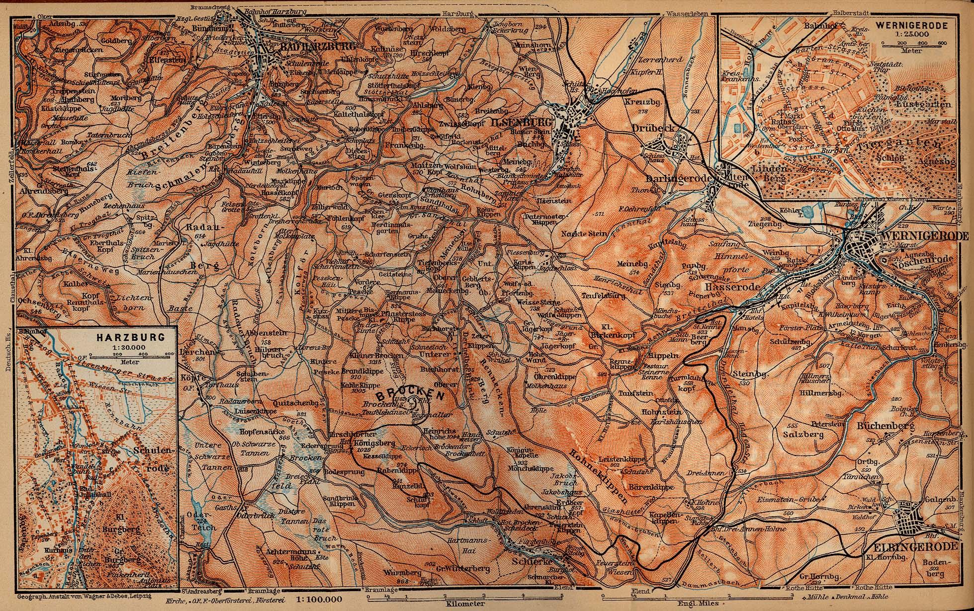 Mapa de las Montañas Harz Desde WerNígerode Hasta El Brocken, Alemania 1910