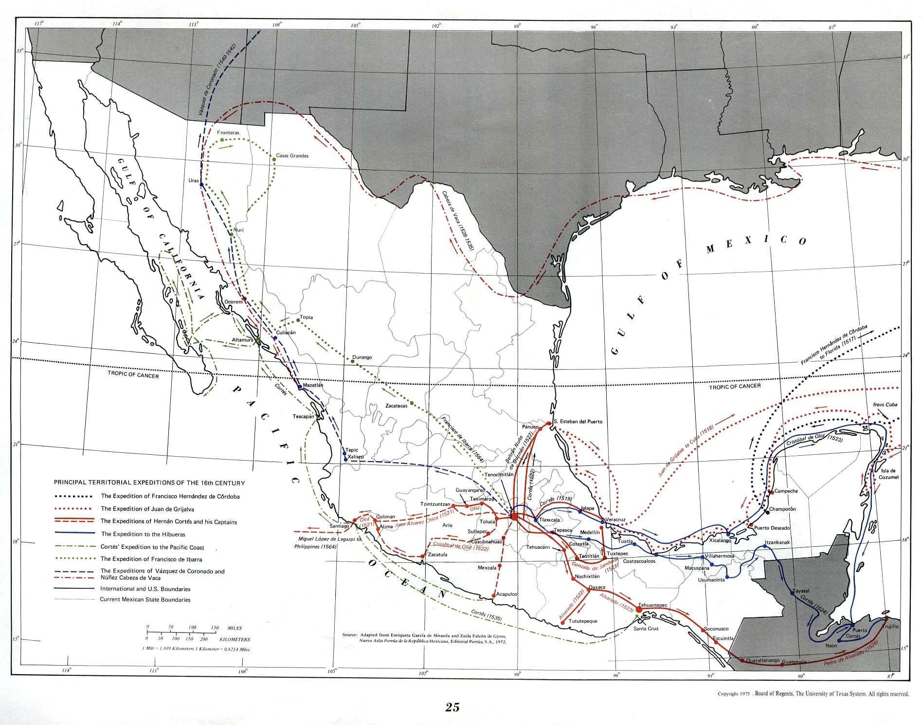 Mapa de las Principales Expediciones Territoriales del Siglo XVI, México
