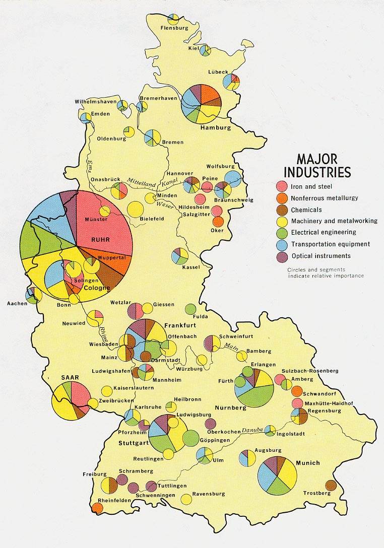Mapa de las Principales Industrias de la Ex Alemania Occidental 1972