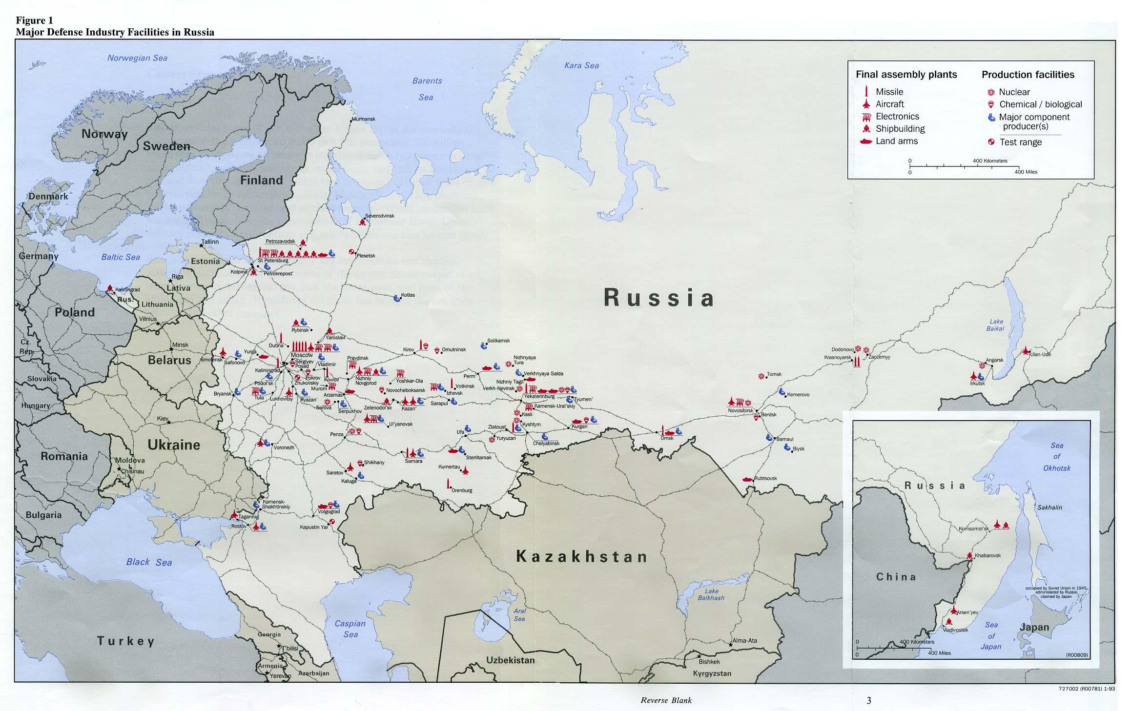 Mapa de las Principales Instalaciones de la Industria Defensa en Rusia
