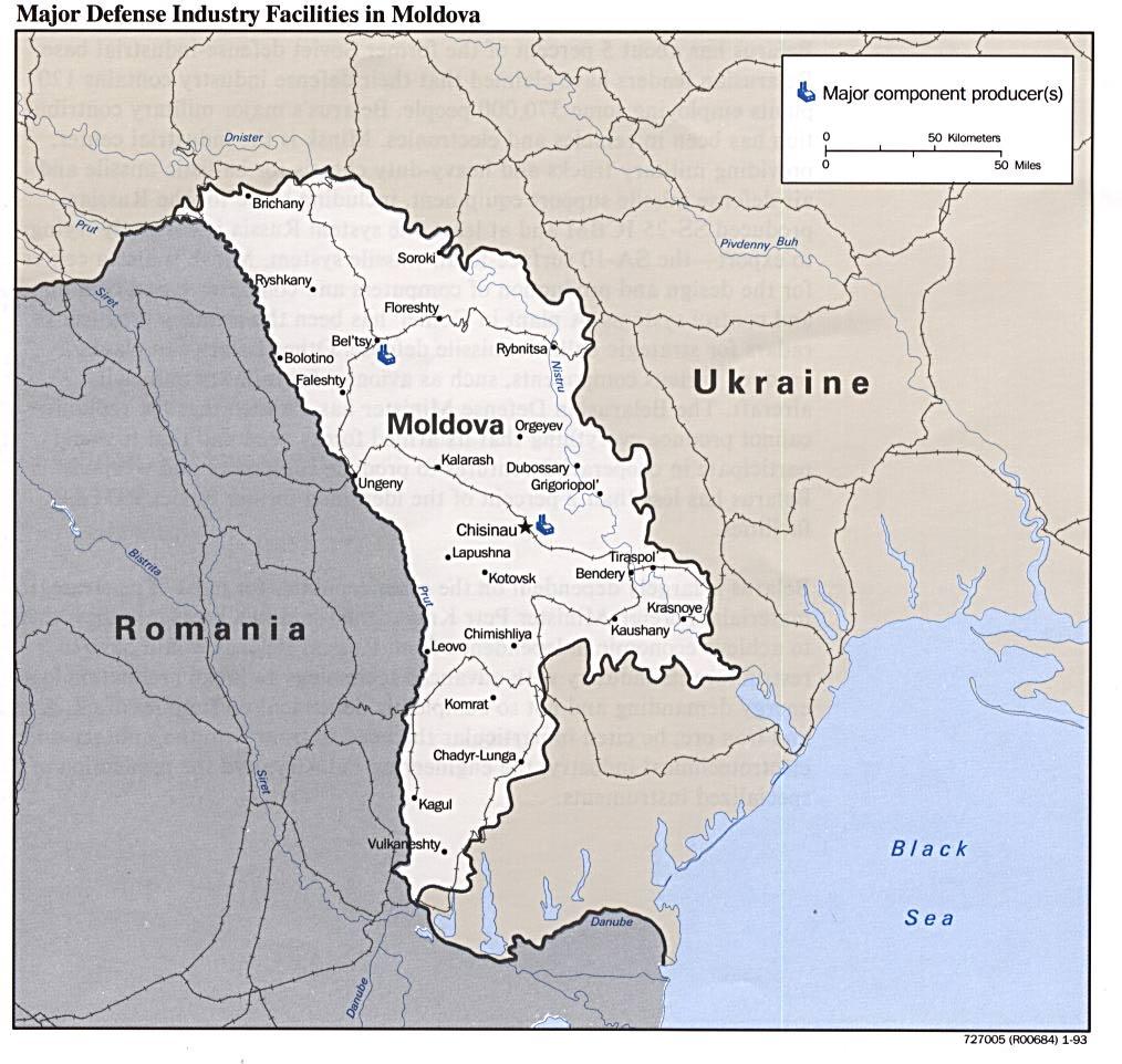 Mapa de las Principales Instalaciones de la Industria de Defensa de Moldavia