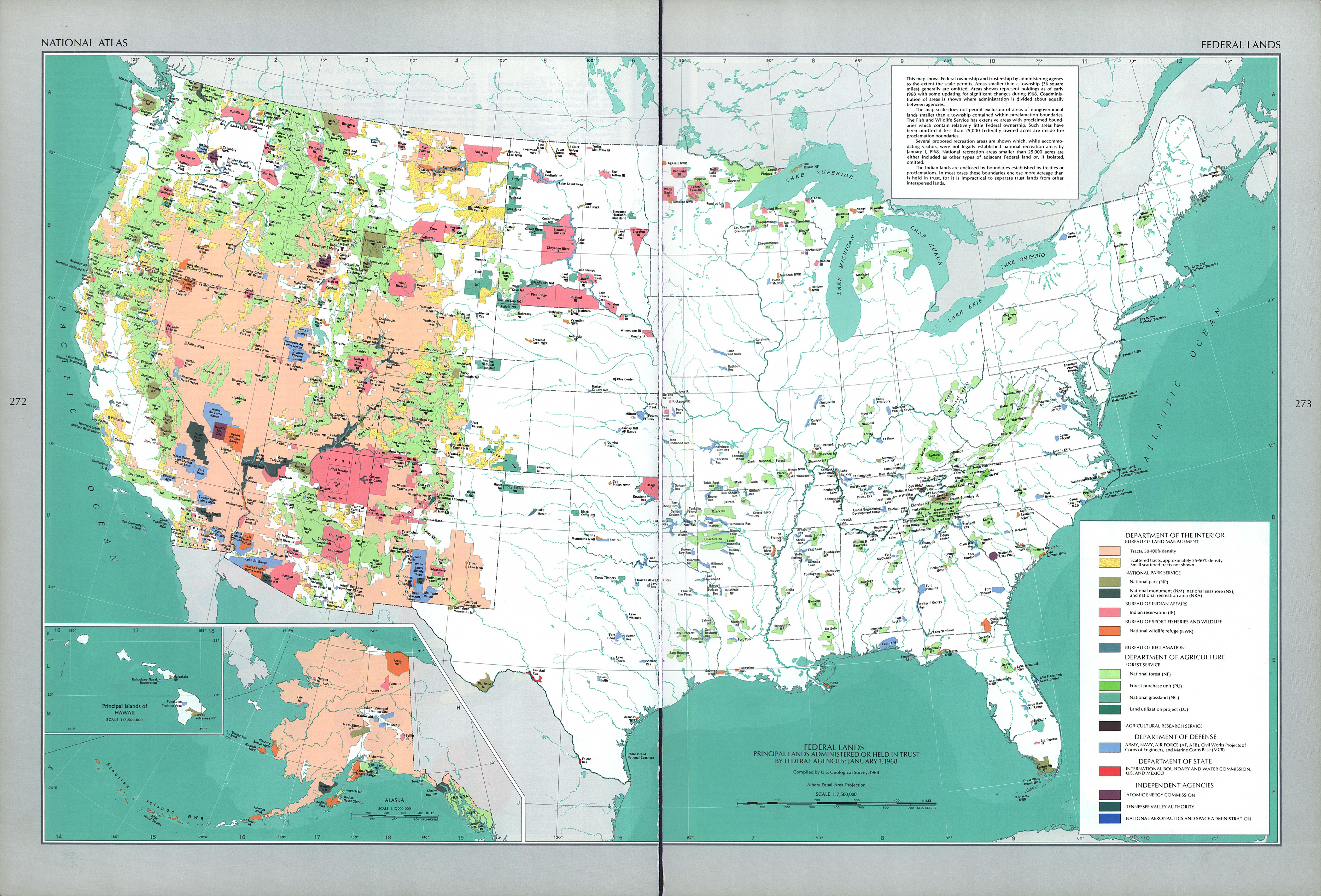 Mapa de las Principales Tierras Administradas o en Fideicomiso por Agencias Federales de los Estados Unidos, Enero 1, 1968