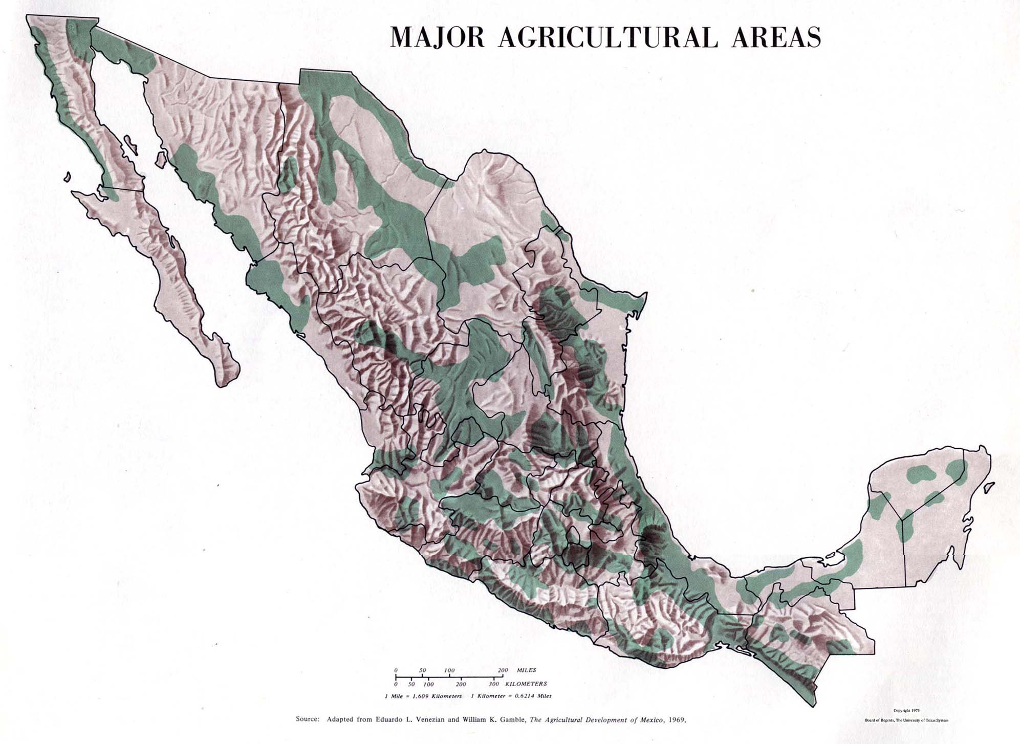 Major Agricultural Areas Map, Mexico