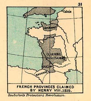 Mapa de las Provincias Francesas Reclamada por Enrique III., 1512