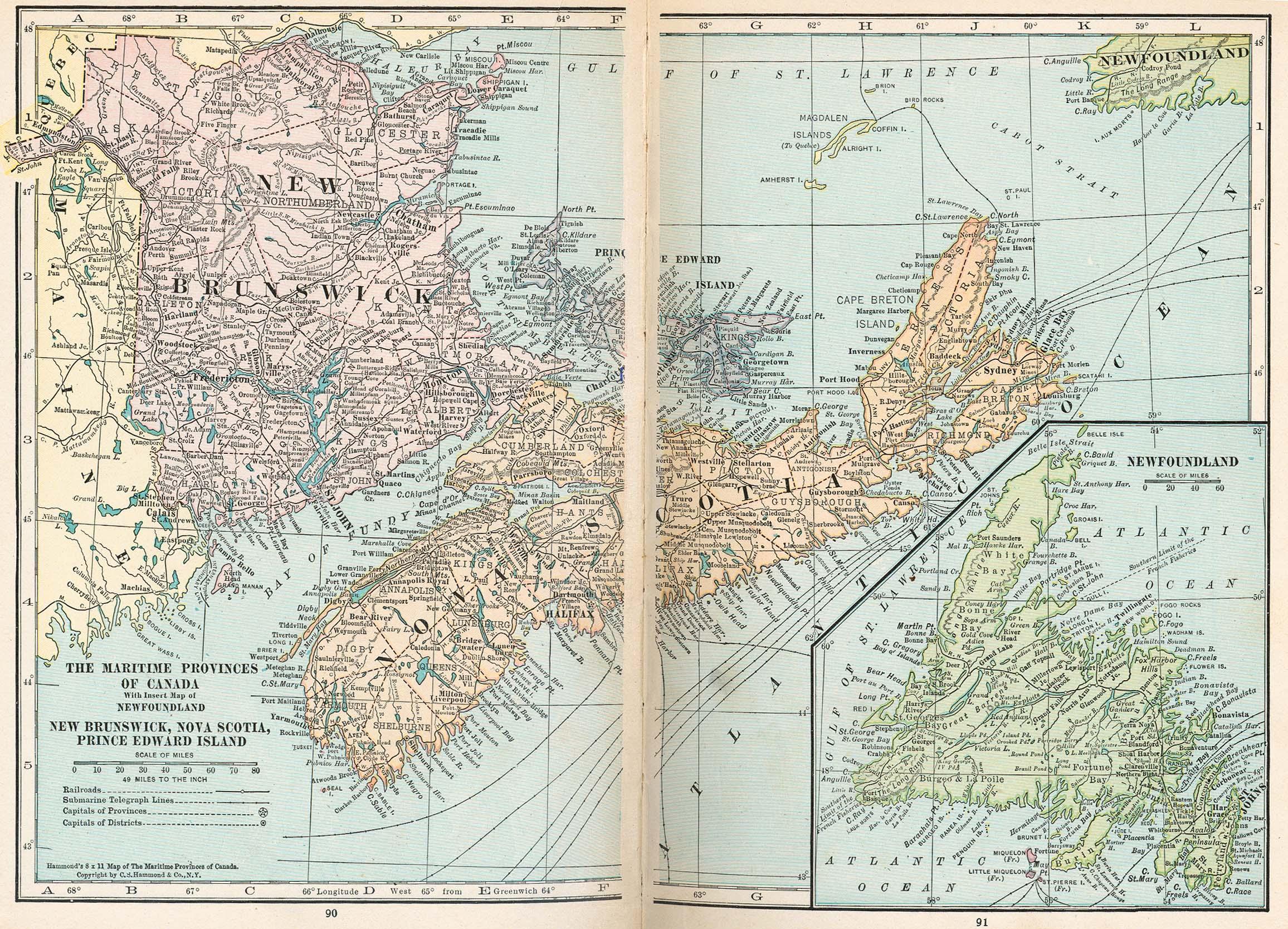 Maritime Provinces Map, Canada 1921