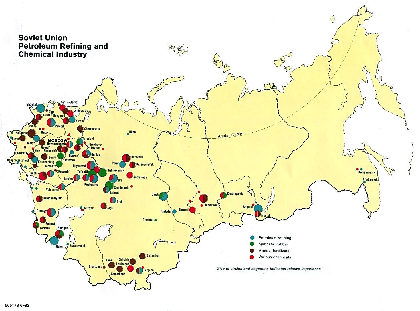 Mapa de las Refinerías de Petróleo y de la Industria Química en la ex Unión Soviética
