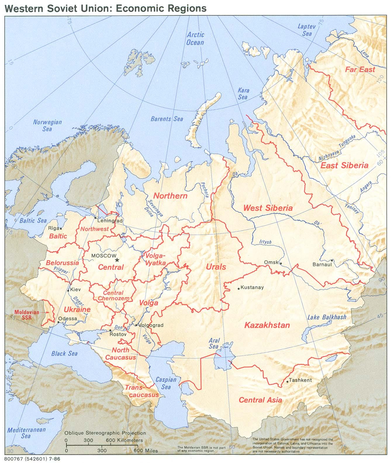 Mapa de las Regiones Económica Occidentales en la ex Unión Soviética