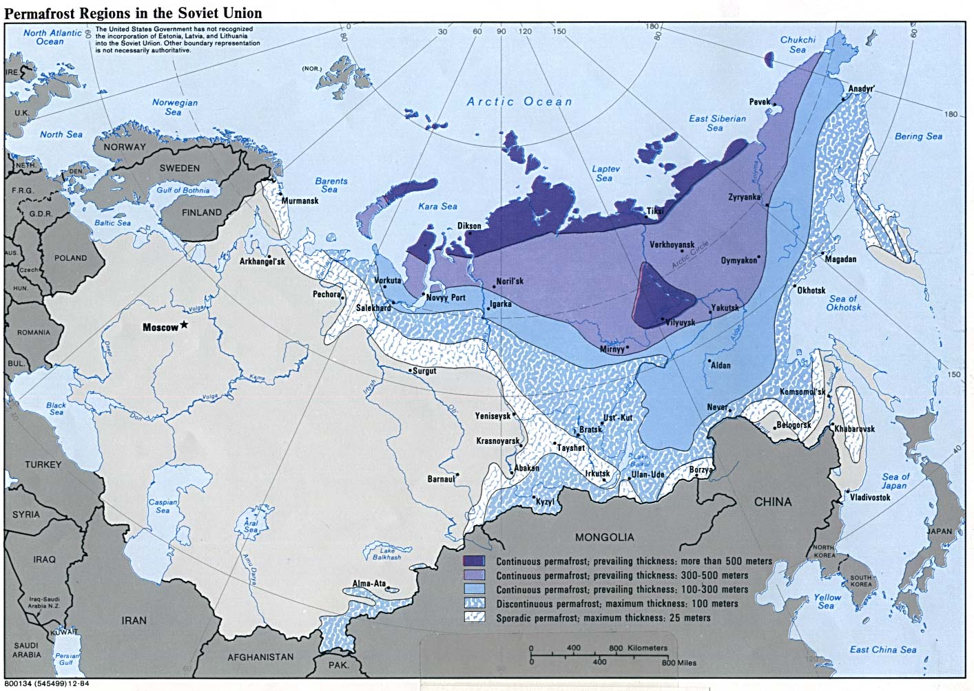 Mapa de las Regiones de Permafrost en la ex Unión Soviética