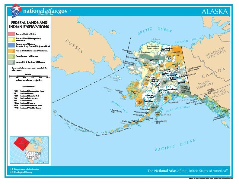 Mapa de las Tierras Federales y de las Reservas Indigenas, Alaska, Estados Unidos