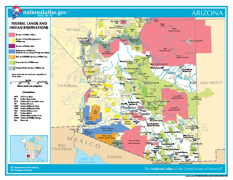 Arizona Federal Lands and Indian Reservations Map, United States