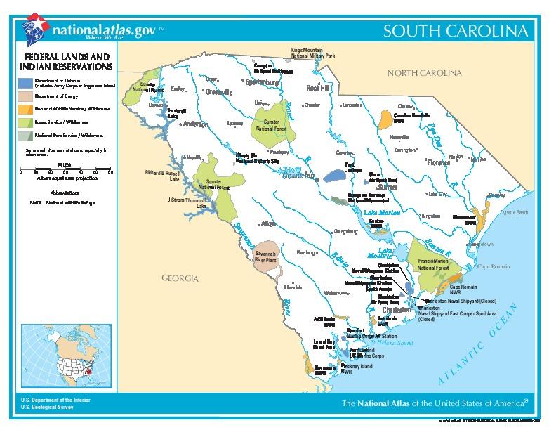 Mapa de las Tierras Federales y de las Reservas Indigenas, Carolina del Sur, Estados Unidos