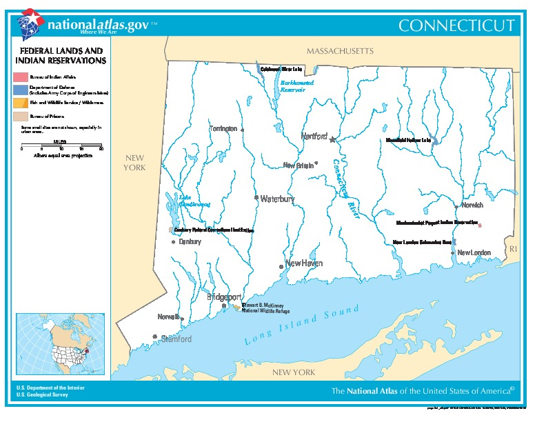 Connecticut Federal Lands and Indian Reservations Map, United States