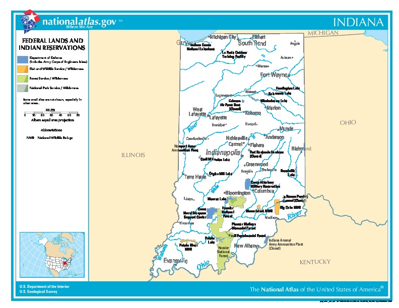 Indiana Federal Lands and Indian Reservations Map, United States