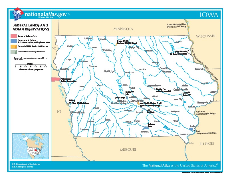 Iowa Federal Lands and Indian Reservations Map, United States