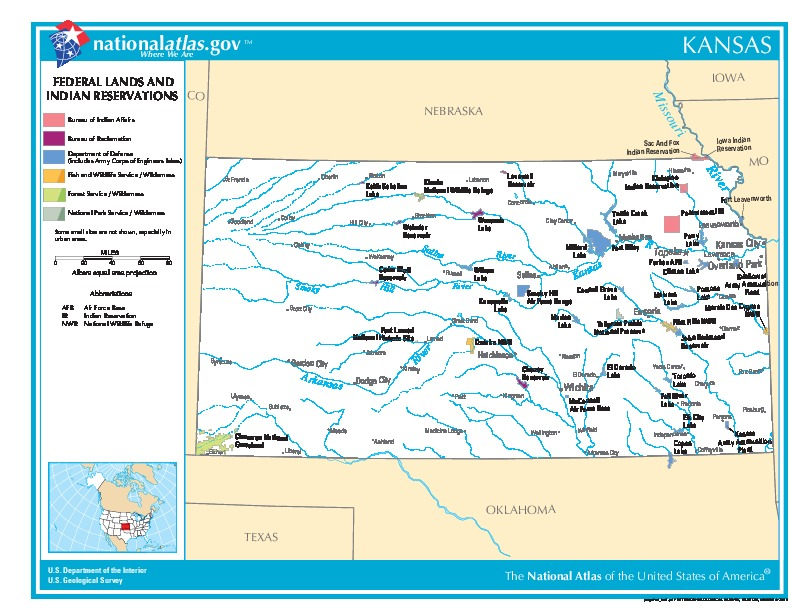 Kansas Federal Lands and Indian Reservations Map, United States