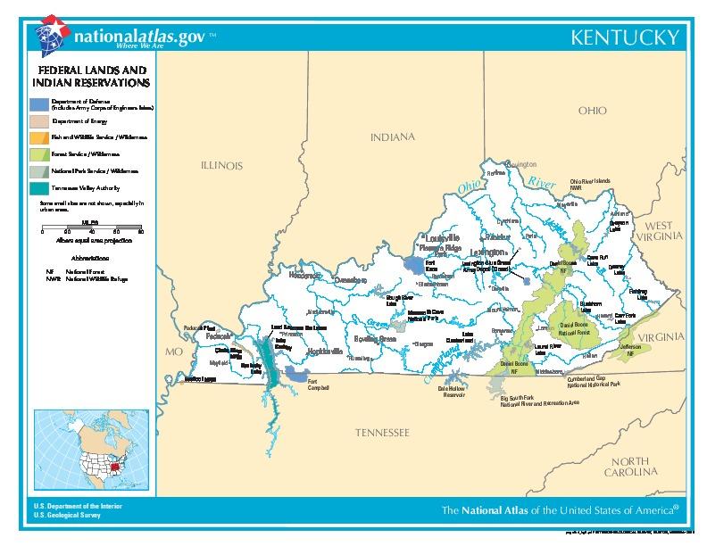 Mapa de las Tierras Federales y de las Reservas Indigenas, Kentucky, Estados Unidos