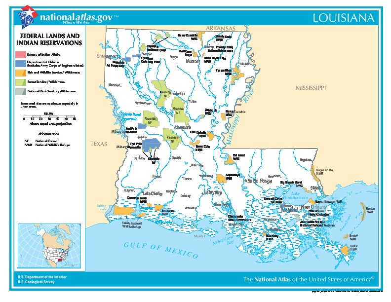 Louisiana Federal Lands and Indian Reservations Map, United States