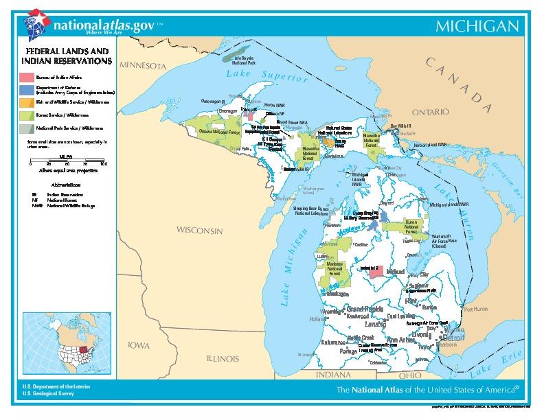 Mapa de las Tierras Federales y de las Reservas Indigenas, Michigan, Estados Unidos