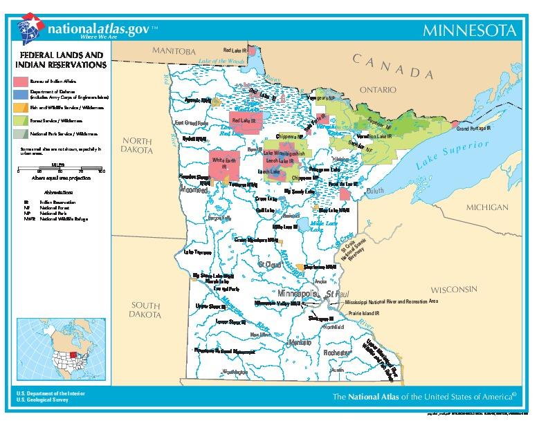 Mapa de las Tierras Federales y de las Reservas Indigenas, Minnesota, Estados Unidos