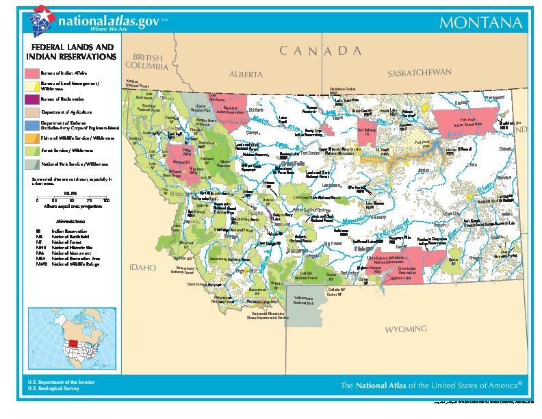 Mapa de las Tierras Federales y de las Reservas Indigenas, Montana, Estados Unidos