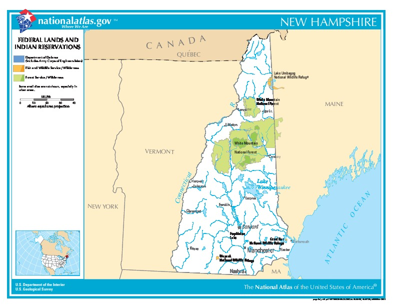 New Hampshire Federal Lands and Indian Reservations Map, United States