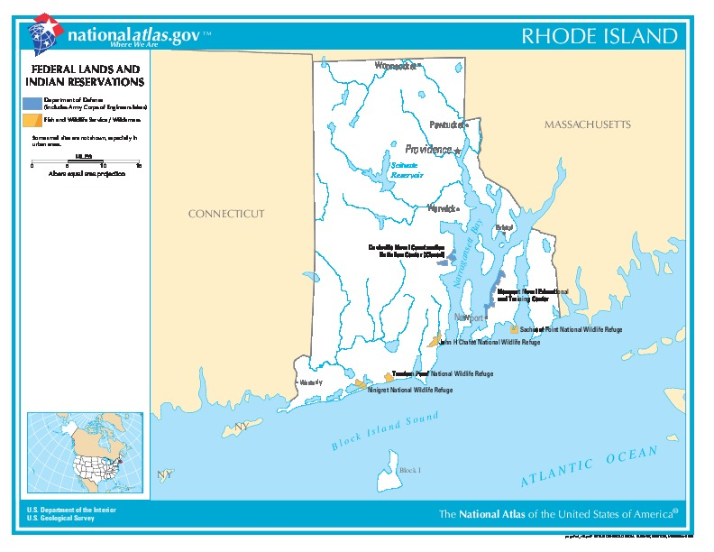 Rhode Island Federal Lands and Indian Reservations Map, United States