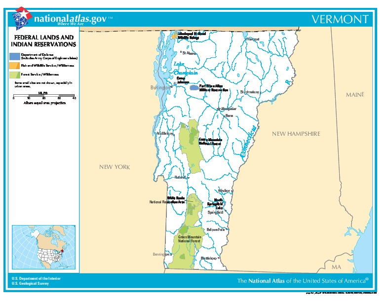Mapa de las Tierras Federales y de las Reservas Indigenas, Vermont, Estados Unidos