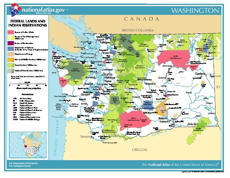 Mapa de las Tierras Federales y de las Reservas Indigenas, Washington, Estados Unidos