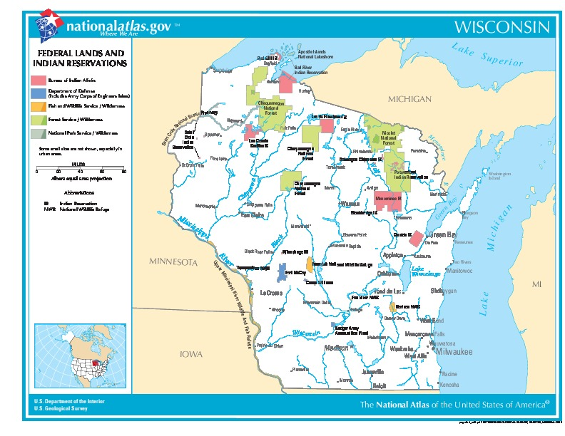 Wisconsin Federal Lands and Indian Reservations Map, United States