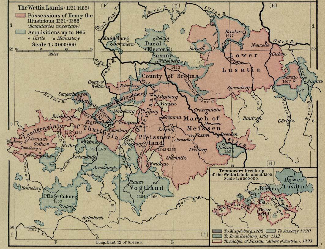 Mapa de las Tierras de la Casa de Wettin 1221-1485