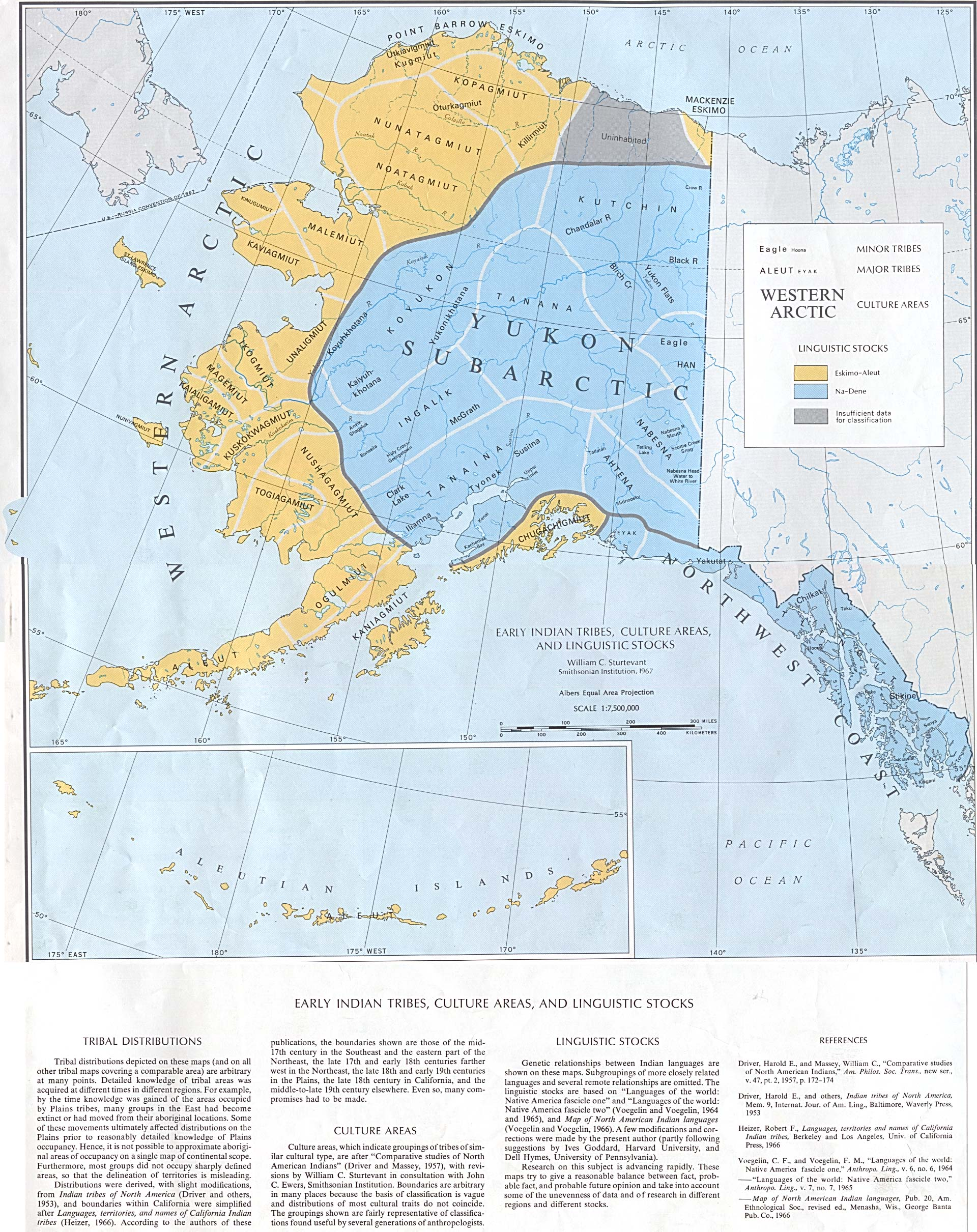 Map of Early Indian Tribes, Culture Areas, and Linguistic Stocks Alaska