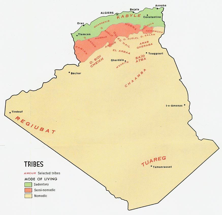 Mapa de las Tribus de Argelia
