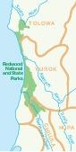 Mapa de las Tribus de la Región del Parque Nacional  Redwood, California, Estados Unidos