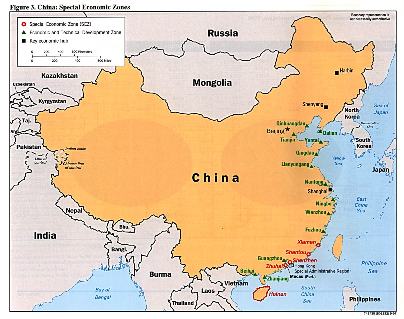 Mapa de las Zonas Económicas Especiales de China