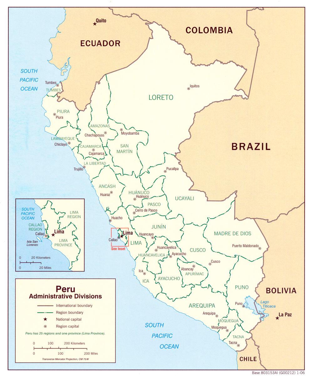 Mapa de las divisiones Administrativas de Perú