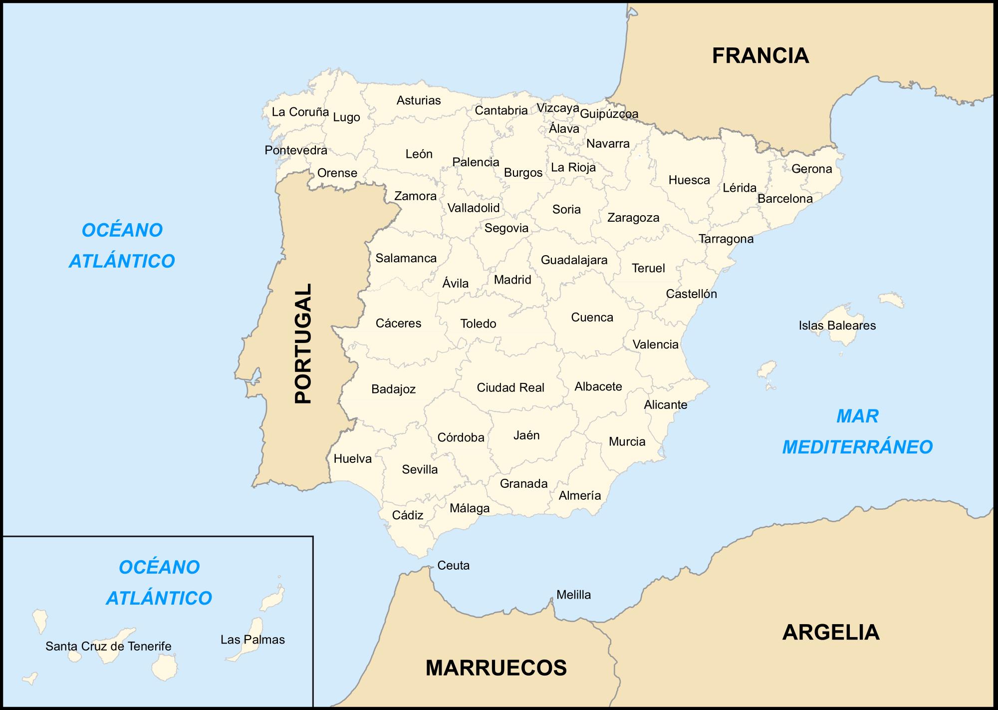 Spain provinces map 2007