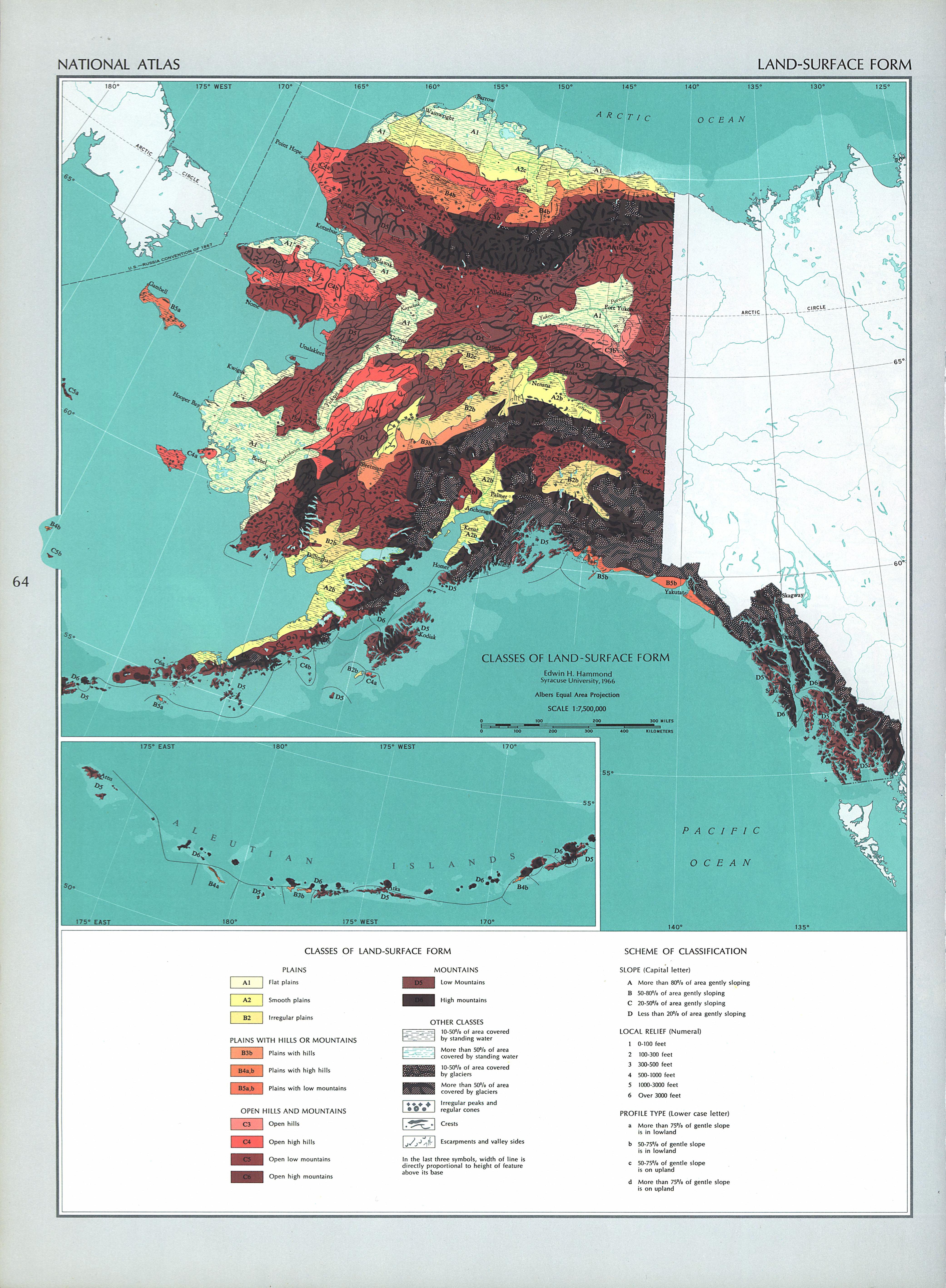 Mapa de los Accidentes Geográficos (Tipos de Accidentes Geográficos de Alaska y Hawái), Estados Unidos