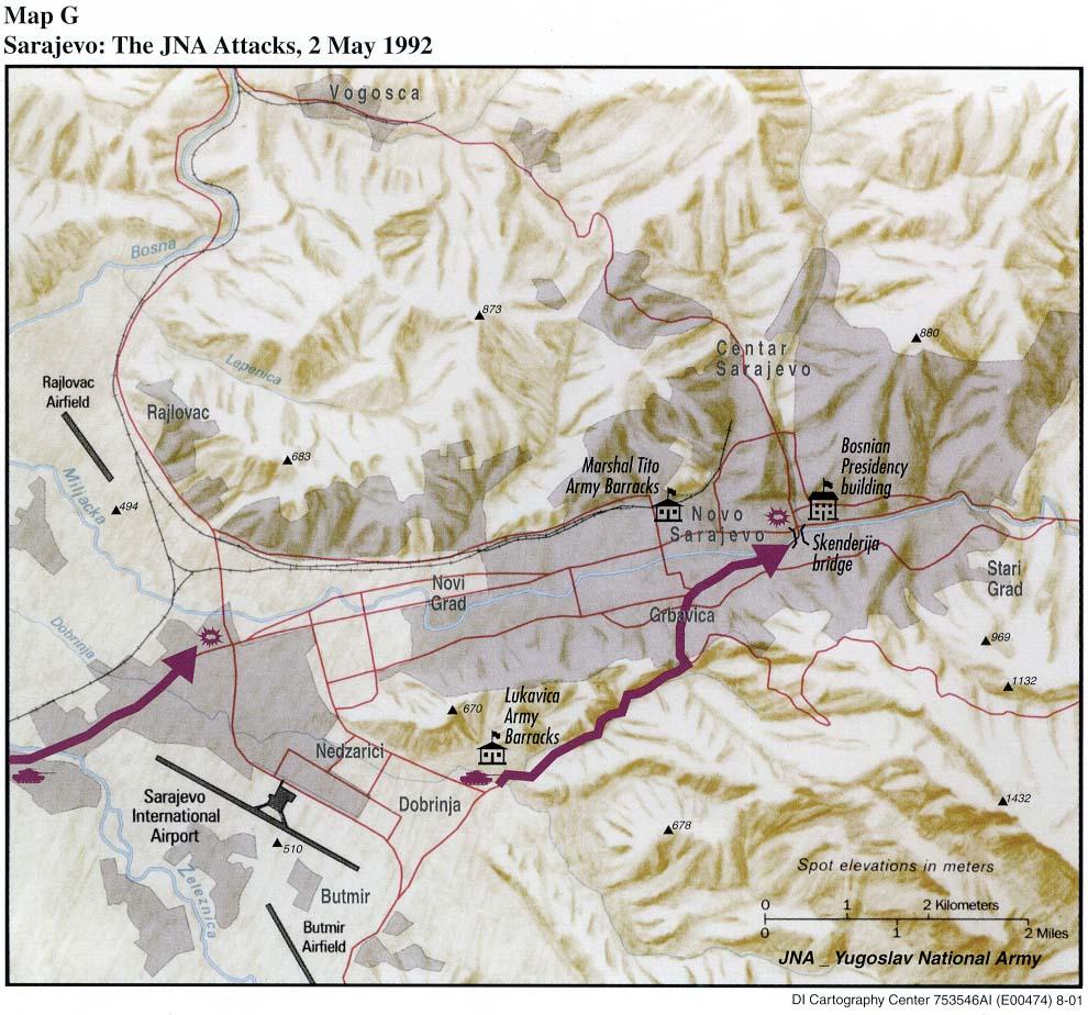 Mapa de los Ataques del JNA, Sarajevo, 2 Mayo 1992