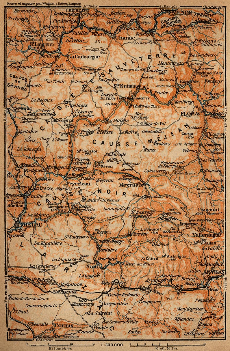 The Causses Map, France 1914